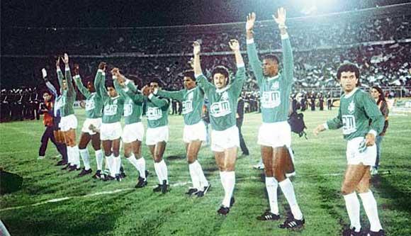 Atletico Nacional celebrate winning the Copa Libertadores in 1989