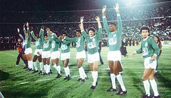 Atletico Nacional celebrate winning the Copa Libertadores in 1989