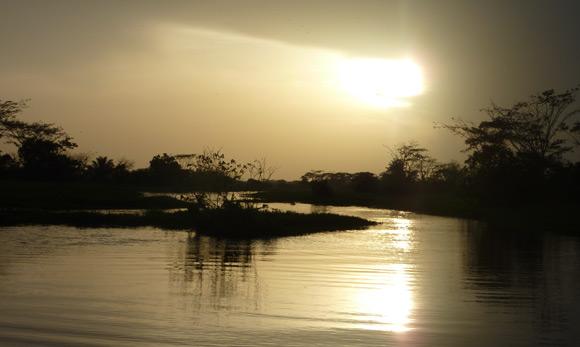 Spectacular sunset over swamp near Mompox