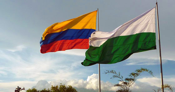 The Colombia Flag flying along side the Department of Antioquia's flag