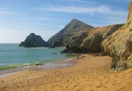 A sandy beach at the base of Cerro Pan de Azucar, Cabo de la Vela