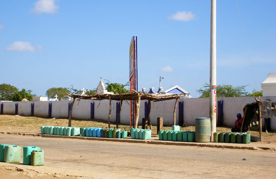 Cans of cheap gasoline from venezuela, Cabo de la Vela