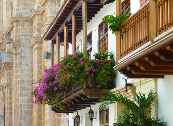 Flowers on balconies in the Old City of Cartagena