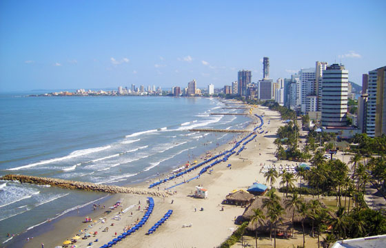 View along Bocagrande Beach, Cartagena