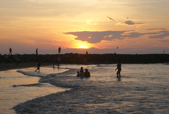 Bocagrande Beach at sunset, Cartagena