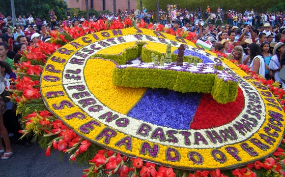 A politically-themed 'Silleta' on display during the Flower Parade in Medellin