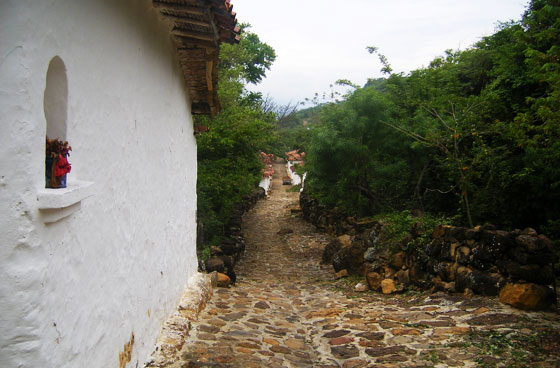 A typical cobbled street in Guane, Santander