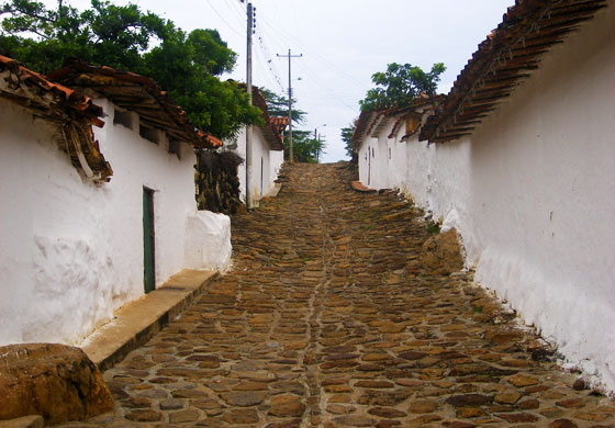 A typical colonial street in Guane, Santander