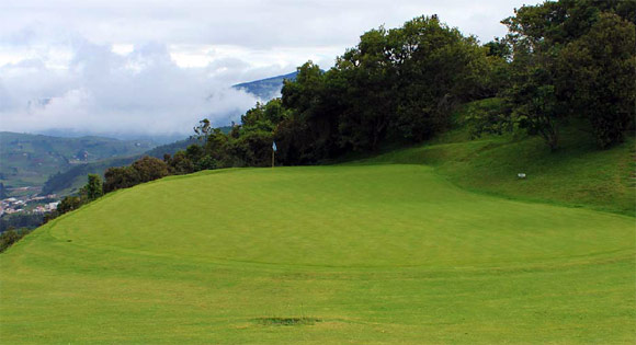 The green on the Par 4 1st hole at La Cima Golf Club near Bogota