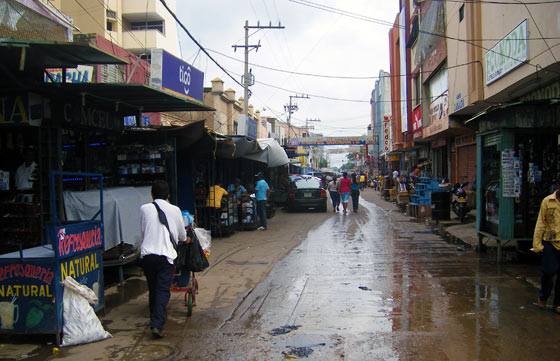 Main trading street in Maicao, Colombia