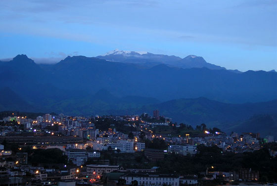 View of Nevado del Ruiz from Manizales at dawn