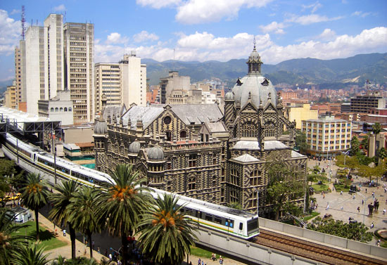 View of the Medellin Metro and Plaza Botero from Hotel Nutibara