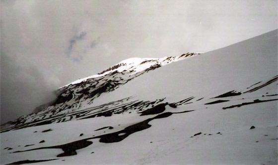 View up to the peak of Nevado del Ruiz