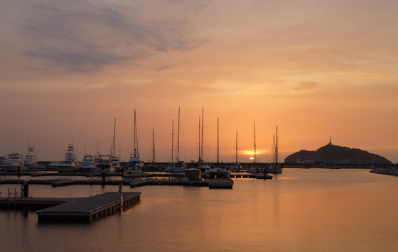 Santa Marta's tourist port at sunset