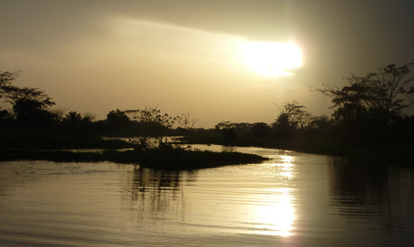 Spectacular sunset over swamp near Mompox