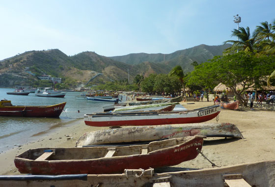Taganga's beach lined with fishing boats