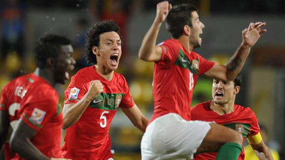 Portugal celebrate their penalty shoot-out victory over Argentina