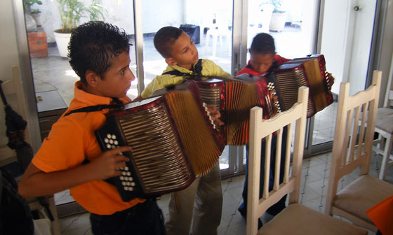 Kids playing Vallenato music, Valledupar