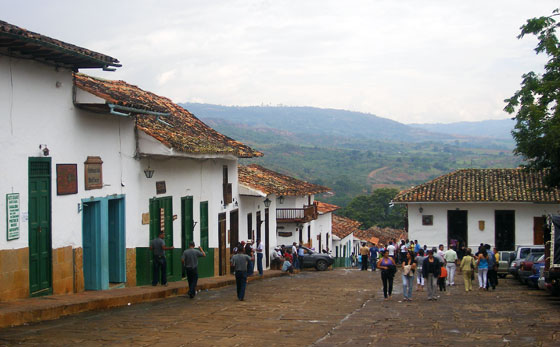 Colonial buildings on Barichara's main plaza