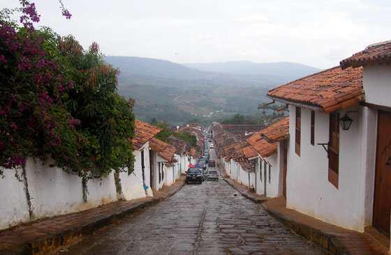A typical colonial street in Barichara, Colombia