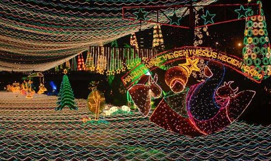 Christmas lights hung across the Medellin River