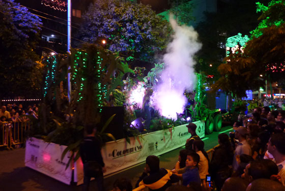 A float on the Myths and Legends Parade in Medellin
