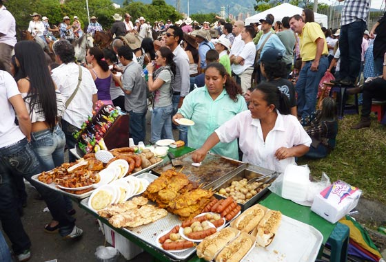 A food stand selling typical fast food at the Feria de Las Flores in Medellin
