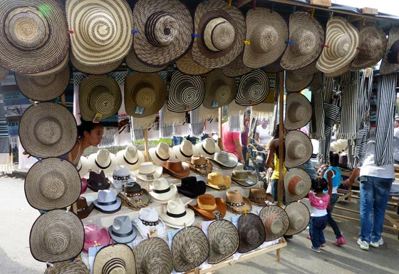 Typical hats on sale during the Feria de Las Flores in medellin