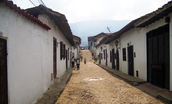 Colonial houses line a typical street in Giron, Santander