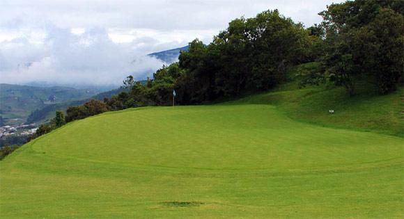 The green on the Par 4 1st hole at La Cima Golf Club near Bogota