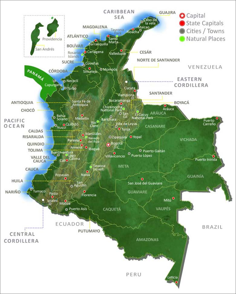 Map of Colombia Colombia Travel Guide