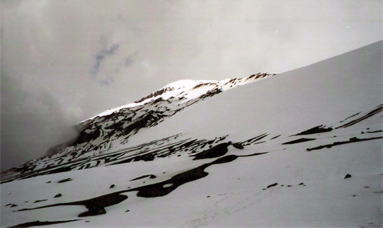 View up to the peak of Nevado del Ruiz