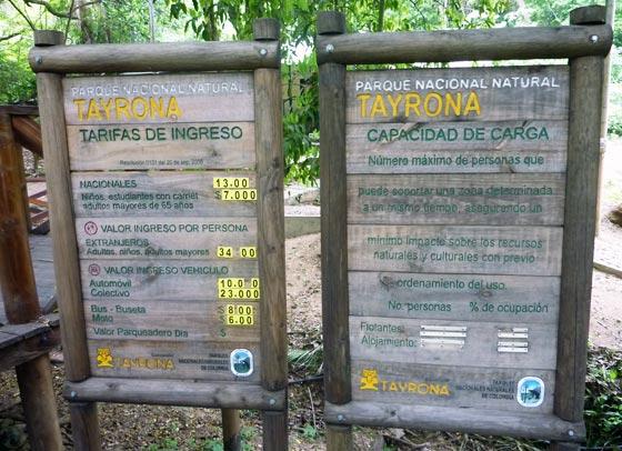 Information board at the entrance to Parque Tayrona