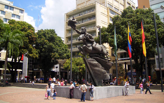 Statue of Simon Bolivar on Plaza Bolivar
