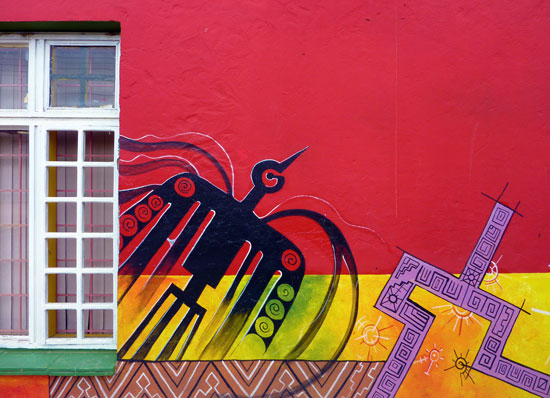 Artwork on house, Raquira