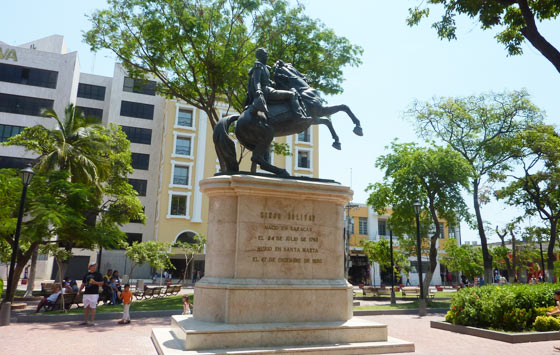 Statue of Simon Bolivar on horseback