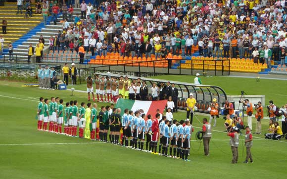 Argentina and Mexico line up for their opening game